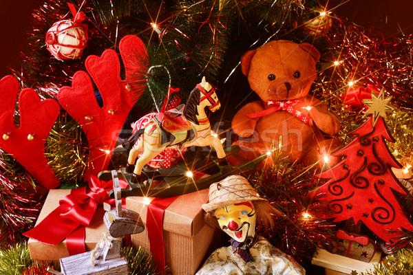 Retro játékok ajándékok karácsonyfa plüssmaci ló Stock fotó © nito
