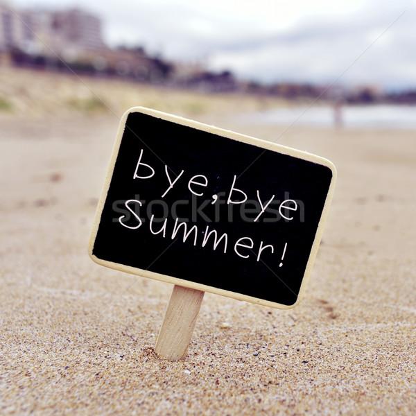 Szöveg viszlát nyár tengerpart közelkép fekete Stock fotó © nito