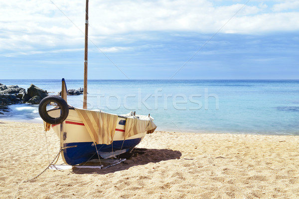 fishing boat beached in Lloret de Mar, Spain Stock photo © nito