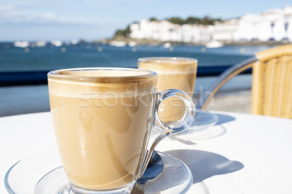 caffe macchiato in the seafront of Cadaques, Spain Stock photo © nito