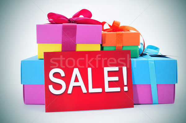 gifts and a red signboard with the word sale Stock photo © nito