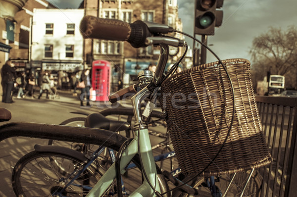 bicycles locked in a rack in London, United Kingdom Stock photo © nito