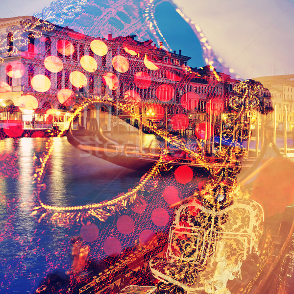 Karnawałowe Wenecja podwoić ekspozycja maska kanał Zdjęcia stock © nito