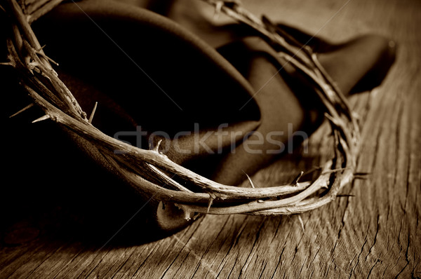 Stock photo: the crown of thorns of Jesus Christ, sepia toning
