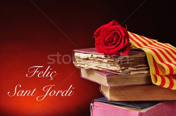 Stok fotoğraf: Kitaplar · kırmızı · gül · metin · mutlu · aziz · bayrak