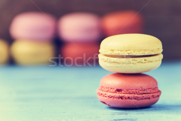 macarons on a blue rustic surface, cross processed Stock photo © nito