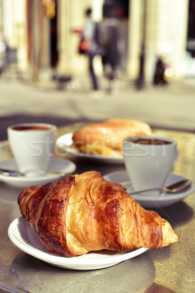 croissant, coffee and spanish omelette sandwich Stock photo © nito