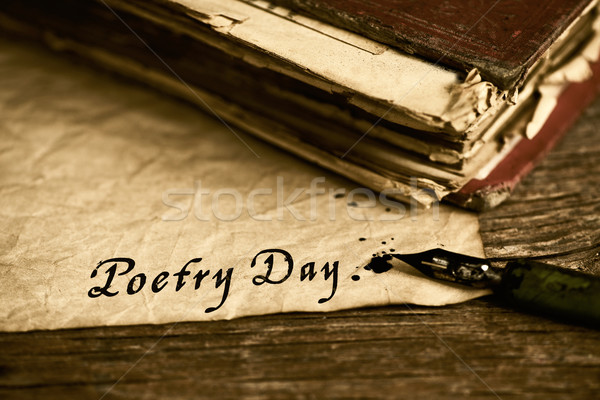 text poetry day written with a dip pen Stock photo © nito