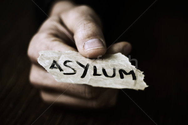 piece of paper with the word asylum Stock photo © nito
