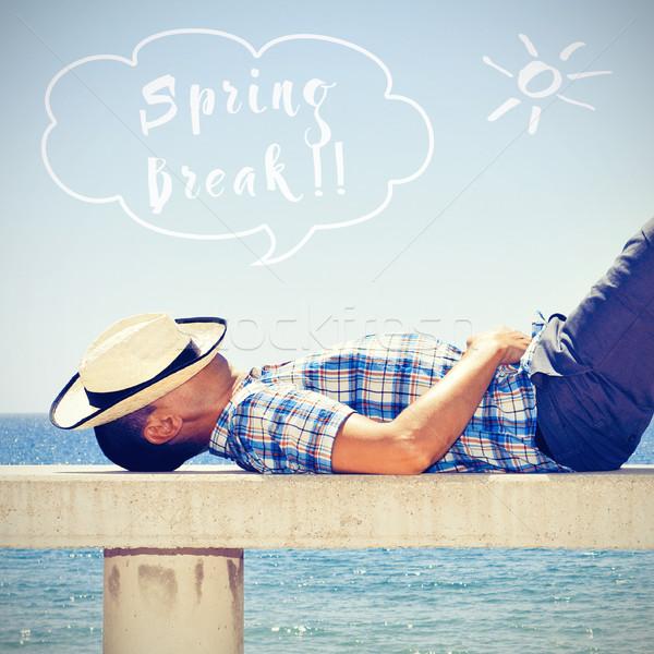 man napping and text spring break Stock photo © nito