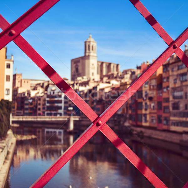 Girona, in Spain, and Onyar River Stock photo © nito