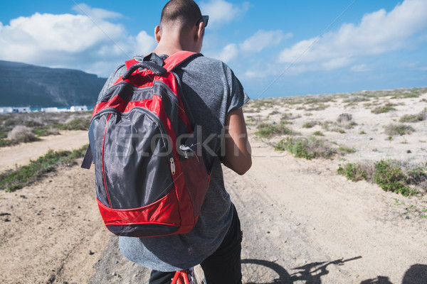 man riding a bike in La Graciosa, Canary Islands, Spain Stock photo © nito