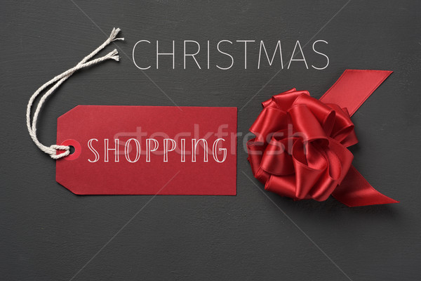 red gift bow and text chrismtas shopping Stock photo © nito