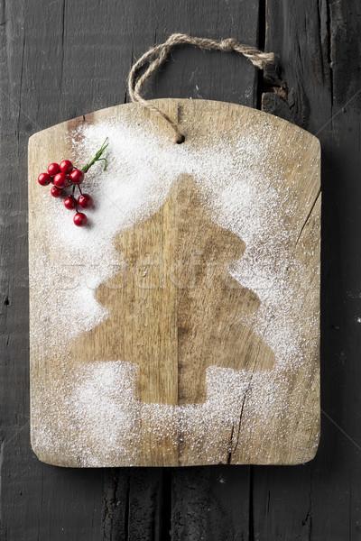Porcukor karácsonyfa magasról fotózva lövés vágódeszka sziluett Stock fotó © nito