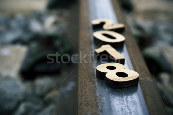 Stock photo: number 2018, as the new year, on the railway