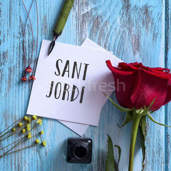 text Sant Jordi, Saint George Day in Catalan Stock photo © nito