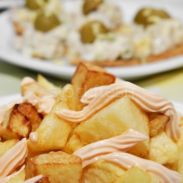 typical spanish patatas bravas, spicy potatoes Stock photo © nito