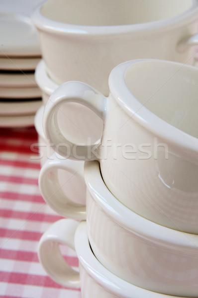 Porselein koffiekopjes lege platen Stockfoto © nito