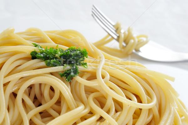 spaghetti with pesto Stock photo © nito