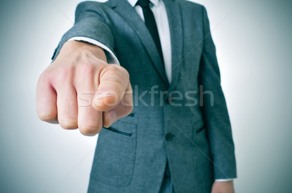 man in suit pointing the finger Stock photo © nito