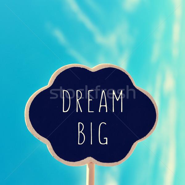Schoolbord tekst droom groot vorm gedachte bel Stockfoto © nito