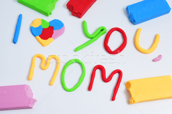 text I love you mom, made in modeling clay Stock photo © nito