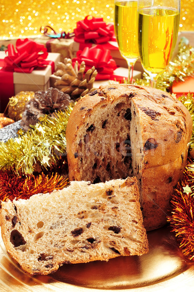 panettone, gifts and champagne Stock photo © nito