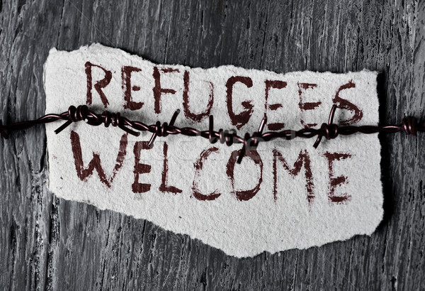 barbed wire and text refugees welcome Stock photo © nito
