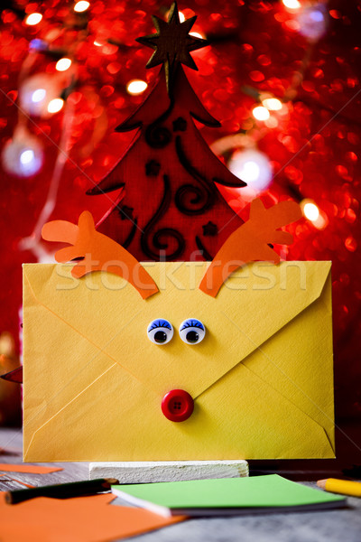 Stock photo: reindeer-shaped letter to santa