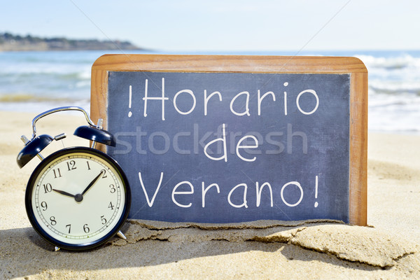 text horario de verano, summer time in spanish Stock photo © nito