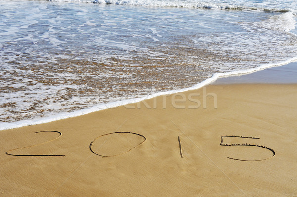 2015, as the new year, written on the sand of a beach Stock photo © nito