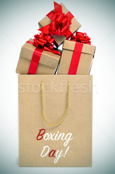 gifts and paper bag with the text boxing day, vignetted Stock photo © nito