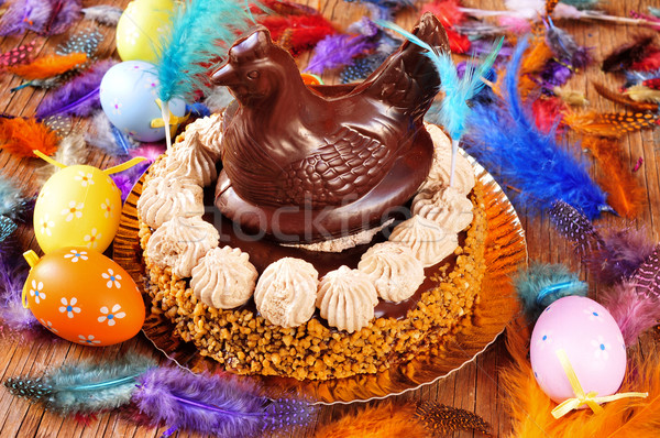 mona de pascua, an ornamented cake eaten in Spain on Easter Mond Stock photo © nito
