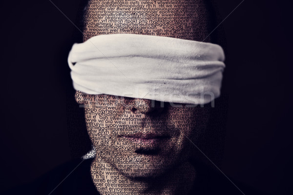 young man with a blindfold in his eyes Stock photo © nito