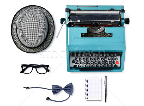 hat, typewriter, eyeglasses, bow tie, notebook and pen Stock photo © nito