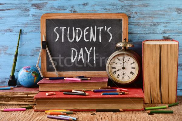 Texto estudantes dia quadro-negro escrito rústico Foto stock © nito