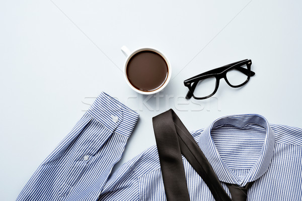 coffee, eyeglasses, tie and shirt Stock photo © nito