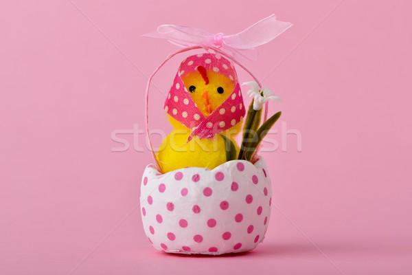 Hölgy plüssmaci csirke repedt tojáshéj vicces Stock fotó © nito