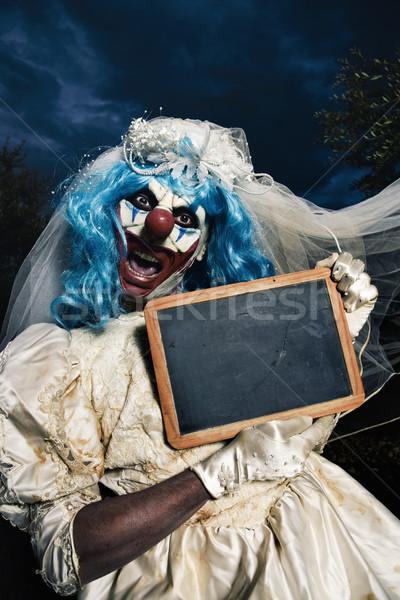 Effrayant mal clown mariée robe Photo stock © nito
