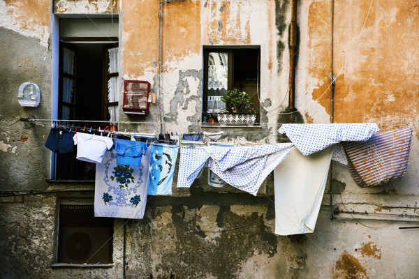 hanging clothes in the old town of Cagliari, Italy Stock photo © nito