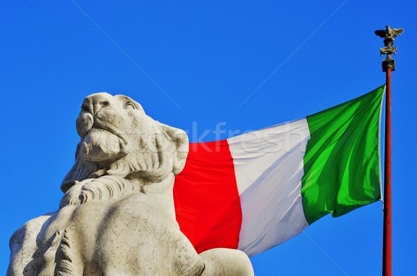 Róma Olaszország részlet zászló oroszlán katona Stock fotó © nito