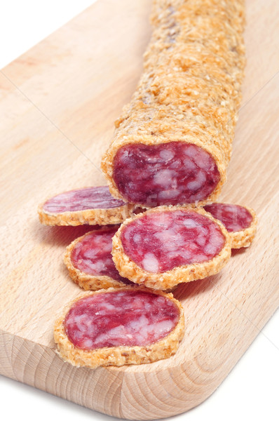 fuet, a spanish sausage, coated with onion Stock photo © nito