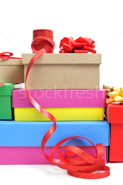 boxes and ribbons to prepare gifts Stock photo © nito