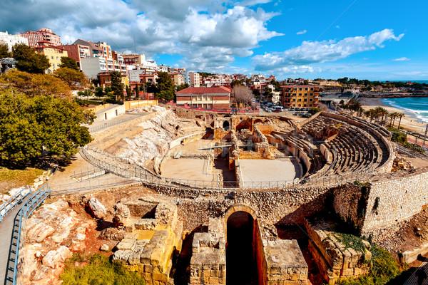 Romano anfiteatro Espanha panorâmico ver antigo Foto stock © nito