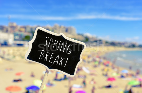 spring break in a black signboard on the beach Stock photo © nito