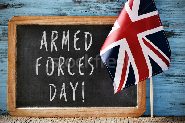 text armed forces day and flag of United Kingdom Stock photo © nito
