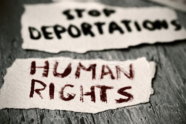 Metin insan hakları durdurmak parçalar kâğıt Stok fotoğraf © nito