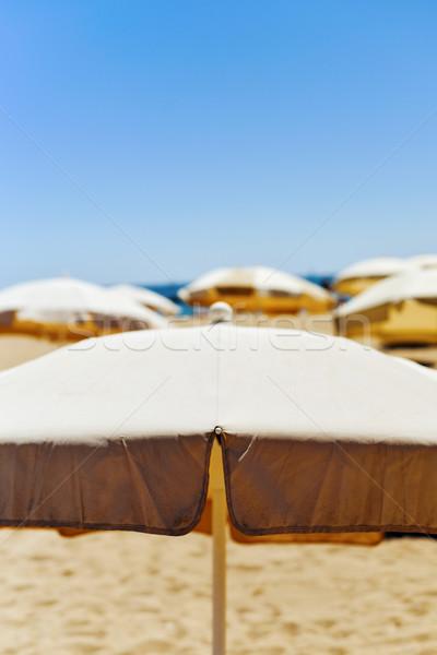 beige umbrellas in a quiet beach Stock photo © nito