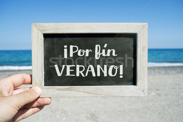 text por fin verano, finally summer in spanish Stock photo © nito