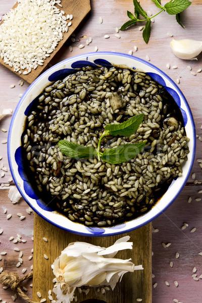 spanish arroz negro or black paella Stock photo © nito